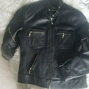 Black leather Clio Moto jacket with zippers